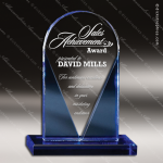 Crystal Blue Accented Hugo Trophy Award Toujours Series Crystal Trophy Awards