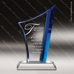 Crystal Blue Accented Vertigo Trophy Award Toujours Series Crystal Trophy Awards