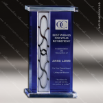 Crystal Blue Accented Newport Trophy Award Toujours Series Crystal Trophy Awards