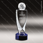 Crystal Blue Accented Traveler Globe Trophy Award Toujours Series Crystal Trophy Awards