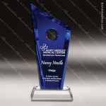 Crystal Blue Accented Half Moon Bay Trophy Award Toujours Series Crystal Trophy Awards