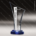 Crystal Blue Accented Epiphany Trophy Award Toujours Series Crystal Trophy Awards