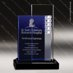 Crystal Blue Accented Uptown Trophy Award Toujours Series Crystal Trophy Awards