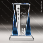 Crystal Blue Accented Rafael Trophy Award Toujours Series Crystal Trophy Awards