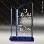 Crystal Blue Accented Ocean Drive Trophy Award Toujours Series Crystal Trophy Awards