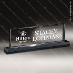 Crystal Black Accented Prazent Name Desk Wedge Trophy Award Toujours Series Crystal Trophy Awards