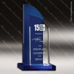 Crystal Blue Accented Double Take Trophy Award Toujours Series Crystal Trophy Awards