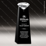 Crystal Black Accented Solitaire Diamond Trophy Award Toujours Series Crystal Trophy Awards