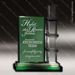 Crystal Green Accented Escalator Trophy Award Toujours Series Crystal Trophy Awards