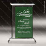 Crystal Green Accented Casa Verde Trophy Award Toujours Series Crystal Trophy Awards