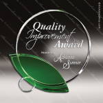Crystal Green Accented Leaf Trophy Award Toujours Series Crystal Trophy Awards