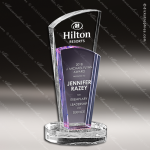 Crystal Purple Accented Sobe Trophy Award Toujours Series Crystal Trophy Awards