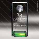 Crystal Green Accented Evergreen Globe Trophy Award Toujours Series Crystal Trophy Awards