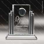 Crystal Clock Silver Echelon Trophy Award Toujours Series Crystal Trophy Awards