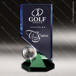 Crystal Sport Blue Accented Hideaway Golf Trophy Award Toujours Series Crystal Trophy Awards