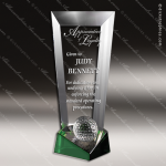 Crystal Sport Green Accented Hillcrest Golf Trophy Award Toujours Series Crystal Trophy Awards