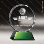 Crystal Sport Green Accented Bayville Golf Trophy Award Toujours Series Crystal Trophy Awards