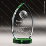 Crystal Sport Green Accented Plantation Trophy Award Toujours Series Crystal Trophy Awards