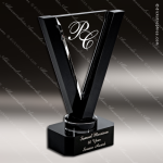 Crystal Black Accented Royal Victory Triangle Trophy Award Triangle Shaped Crystal Awards