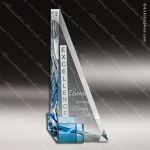 Crystal Blue Accented Aver Triangle Sail Trophy Award Triangle Shaped Crystal Awards