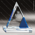 Crystal Blue Accented Cobalt Peak Triangle Trophy Award Triangle Shaped Crystal Awards