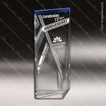 Crystal Blue Accented Cobalt Force Triangle Block Trophy Award Triangle Shaped Crystal Awards
