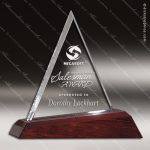 Crystal Wood Accented Optic Highland Triangle Trophy Award Triangle Shaped Crystal Awards