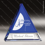 Crystal Blue Accented Indigo Peak Triangle Trophy Award Triangle Shaped Crystal Awards