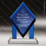 Crystal Blue Accented Floating Diamond Trophy Award Triangle Shaped Crystal Awards