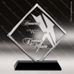Crystal Black Accented Diamond Series Trophy Award Triangle Shaped Crystal Awards