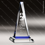 Crystal Blue Accented Triangle Paramount Trophy Award Triangle Shaped Crystal Awards