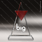 Crystal Red Accented Encounter Trophy Award Triangle Shaped Crystal Awards