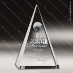 Crystal  Globe Triangle Plaque Trophy Award Triangle Shaped Crystal Awards