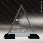 Glass Black Accented Triangle Tri'd and True Trophy Award Triangle Shaped Glass Awards