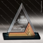 Glass Gold Accented Triangle Tri-Medalist Trophy Award Triangle Shaped Glass Awards
