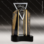 Glass Gold Accented Triangle Virtue Trophy Award Triangle Shaped Glass Awards