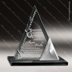 Glass Black Accented Triangle Twin Peak Trophy Award Triangle Shaped Glass Awards