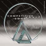 Glass Jade Accented Circle Geometry Trophy Award Triangle Shaped Glass Awards