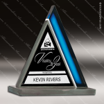 Glass Blue Accented Triangle Azure Peak Trophy Award Triangle Shaped Glass Awards