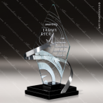 Glass Black Accented Triangle Cosmic Star Trophy Award Triangle Shaped Glass Awards