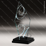 Glass Black Accented Triangle Cosmic Moon Trophy Award Triangle Shaped Glass Awards