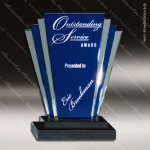 Glass Blue Accented Triangle Blue Deco Trophy Award Triangle Shaped Glass Awards