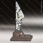Glass Gold Accented Bronze Triangle Conquest Trophy Award Triangle Shaped Glass Awards