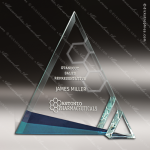 Glass Blue Accented Triangle Azul Ice Trophy Award Triangle Shaped Glass Awards