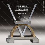 Glass Gold Accented Triangle Sophus Trophy Award Triangle Shaped Glass Awards
