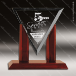 Jackson Royal Glass Rosewood Accented Diamond Triangle Trophy Award Triangle Shaped Glass Awards
