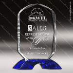 Crystal Blue Accented Oval Trophy Award Tropar Airflyte Crystal Trophy Awards