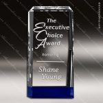 Crystal Blue Accented Rectangle Trophy Award Tropar Airflyte Crystal Trophy Awards