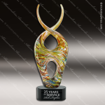 Artistic Black Accented Art Glass Gold Jaffey Curve Trophy Award Unique Art Trophy Awards