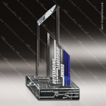 Crystal Blue Accented Threshold Sail Trophy Award Visions Crystal Trophy Awards
